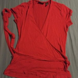 Red faux wrap shirt with tie